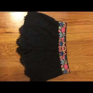 Pants - Black lace and crochet high waisted shorts
